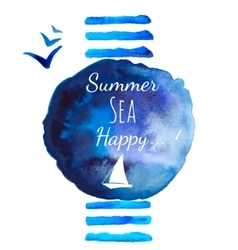 Summer sea watercolor background vector image