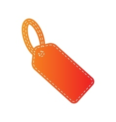 Tag sign  orange applique isolated vector