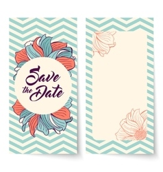Save the date card flowers on chevron background vector