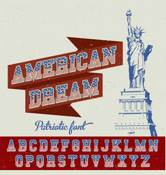 American dream patriotic font poster vector