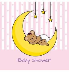 Bear sleeping on the moon vector image vector image