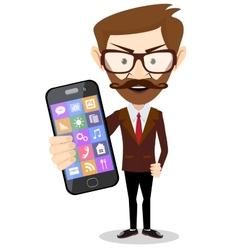 Businessman with phone in hand vector image