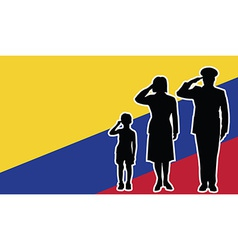 Colombia soldier family salute vector