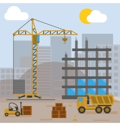 Construction Site Building House vector image vector image