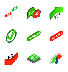 correct and incorrect icons isometric 3d style vector image