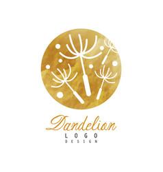 Creative logo design of dandelion with flying vector