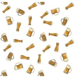 doodle beer glasses pattern vector image
