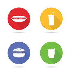 Fast food white icon in color circle vector