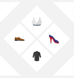 Flat icon garment set of heeled shoe uniform vector