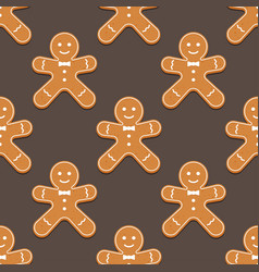 Gingerbread man christmas cookies seamless pattern vector