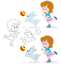 Girl and pup vector