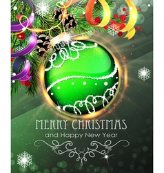 Green christmas bauble with fir branches and vector