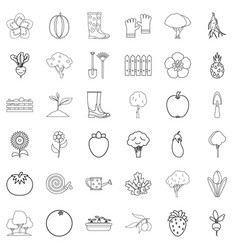 growth icons set outline style vector image