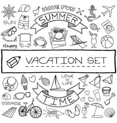 Hand drawn vacation icons set vector image