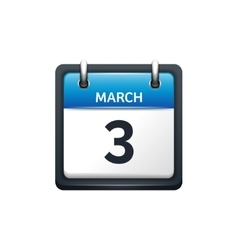 March 3 Calendar icon flat vector image vector image