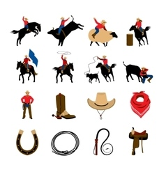 Rodeo Flat Color Icons vector image