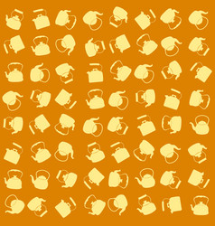 seamless yellow pattern with kettle vector image vector image