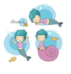 set with cute cartoon mermaid little sisters fun vector image vector image