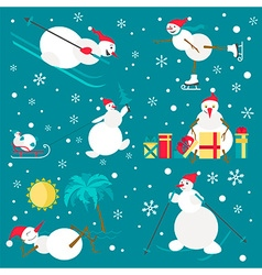 Snowman characters icon set flat design vector