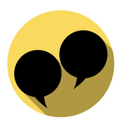 Speech bubble sign flat black icon with vector