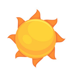 Summer yellow sun with rounded orange rays vector