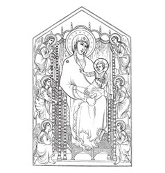 The madonna enthroned can be found in the vector