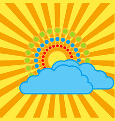 The sun with bright rays behind the clouds vector
