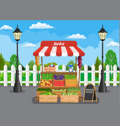 Traditional wooden market food stall vector