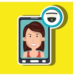 Woman smartphone secure vector