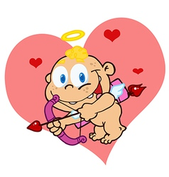 Flying cupid baby front of a pink heart vector