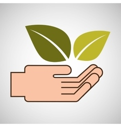 hands care environment plant leaf vector image