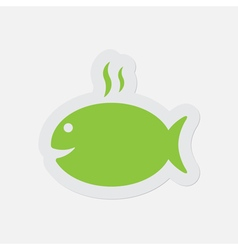 Simple green icon - grilling fish with smoke vector