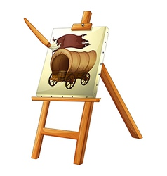 A painting of a wooden carriage vector