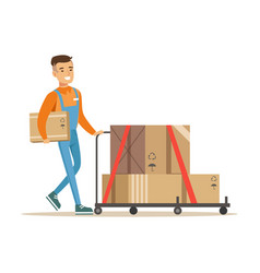 Delivery service worker pushing loaded cart vector