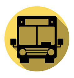 bus sign flat black icon vector image