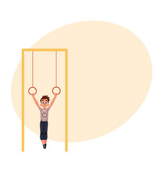 Teenage caucasian boy hanging on gymnastic rings vector