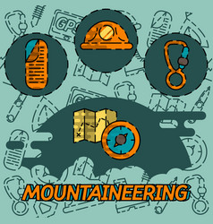 Mountaineering flat concept icons vector