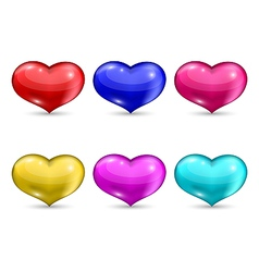 Set colorful hearts isolated on white background vector