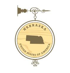 Vintage label Nebraska vector image