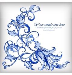 Watercolor blue backgroundgzhel details vector
