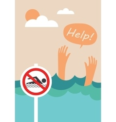 Prohibition forbidden sign for no swimming vector