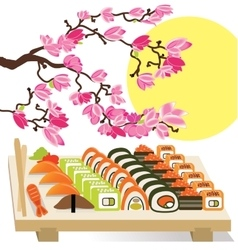 Beautiful set of Sushi Japanese food under the vector image