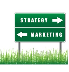 Signpost strategy marketing grass below vector