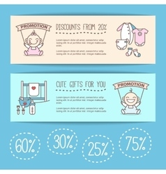 Baby goods sale posters kids store vector
