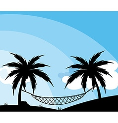 Silhouette of hammock between trees vector