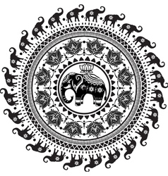 Round pattern with decorated elephants vector