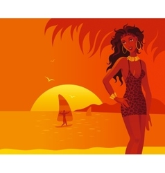 Heat beach girl vector
