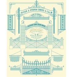 Wrought iron wicket and wedding invitation fence vector