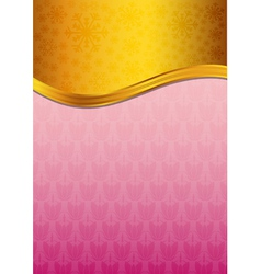 Abstract pink celebration paper with golden ribbon vector image vector image