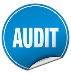 Audit round blue sticker isolated on white vector